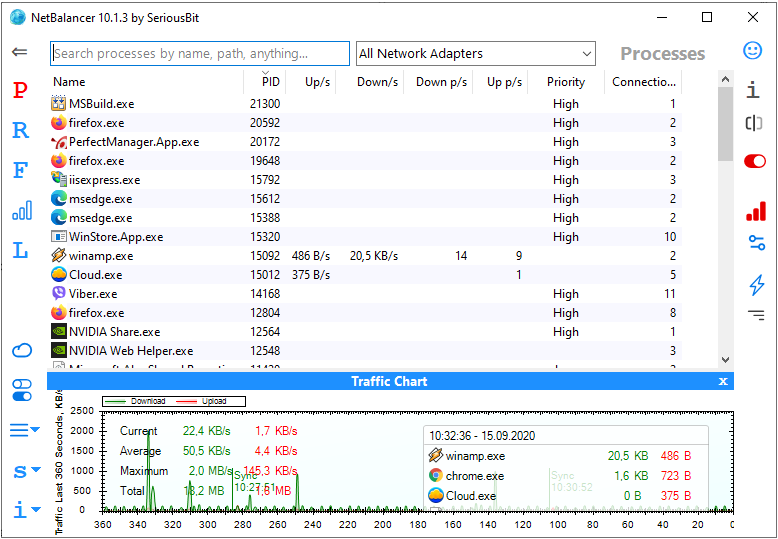 Browse and do any internet activity comfortably even when your download manager or torrent client downloads huge files from internet - just lower their network priority with NetBalancer. NetBalancer is an internet traffic control tool for Windows.